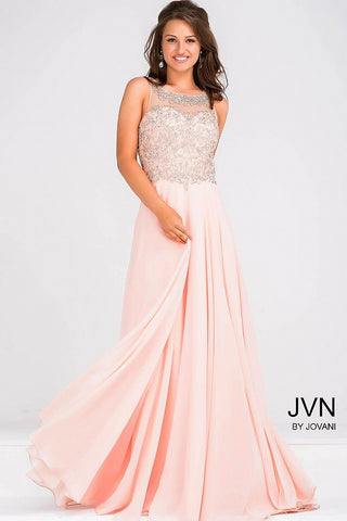 JVN27809 Sheer Neckline Evening Gown with illusion Keyhole Back and long flowy chiffon skirt pageant gown prom dress   size 10 Peach