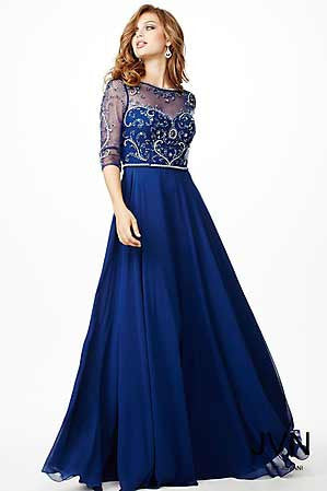 Jovani JVN 31443 size 22 Navy prom dress Sheer sleeves High Neck High Neck Illusion