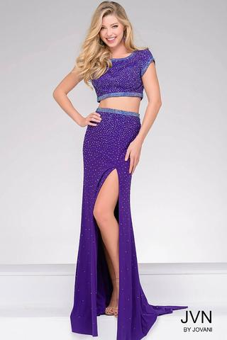 Jovani JVN36743 Size 6 two piece prom dress cap sleeve slit backless Embellished
