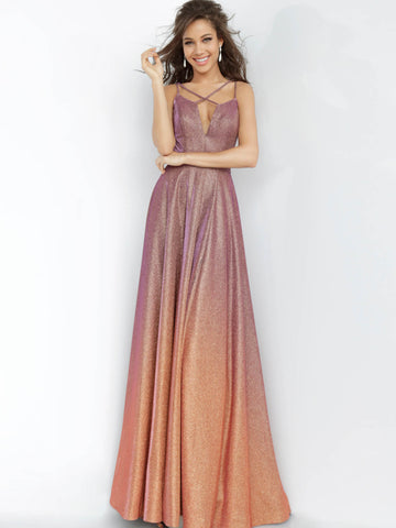 JVN4327 Purple Gold Glitter prom dress, floor length maxi wrap skirt, sleeveless bodice, plunging neckline with spaghetti straps criss cross, spaghetti straps over shoulders, open back.