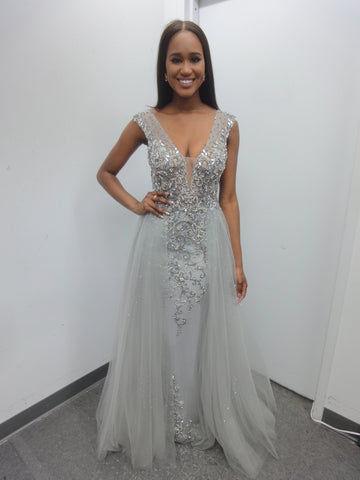 78f8f3e52175 JVN by Jovani 46081 Embellished Column Prom Dress with Tulle Overlay ...