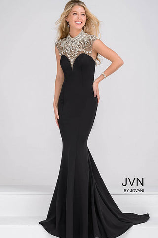 JVN47786 This is a black stretch jersey mermaid evening gown that features a scalloped jeweled sheer neckline and open back. Prom Dress