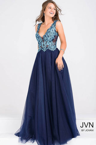 JVN by Jovani 48647 Embroidered top ballgown Navy size 4