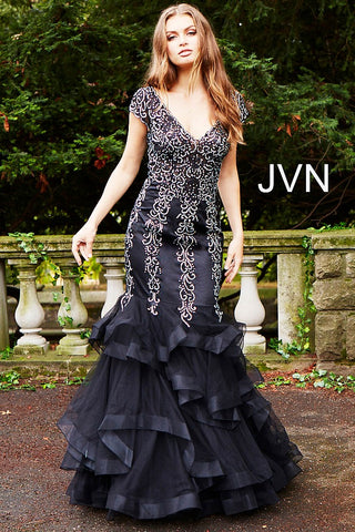 JVN by Jovani 55878 tiered bottom cap sleeve embellished mermaid prom dress-