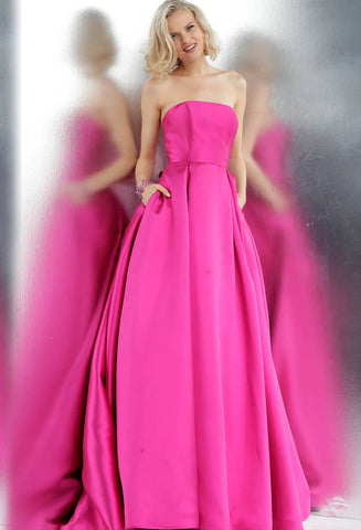 JVN by Jovani 62633 strapless straight neckline prom dress ballgown