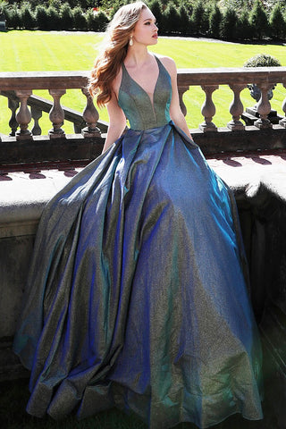 JVN by Jovani 65851 criss cross back Green/Blue prom dress Size 4 in stock