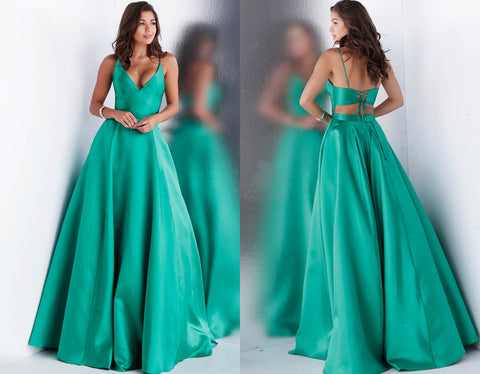 e429008fb26 ... JVN by Jovani 66673 lace up open back prom dress ball gown- ...