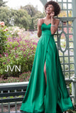 JVN67753 Strapless fitted bodice, sweetheart neckline, A line pleated skirt, floor length, sweeping train