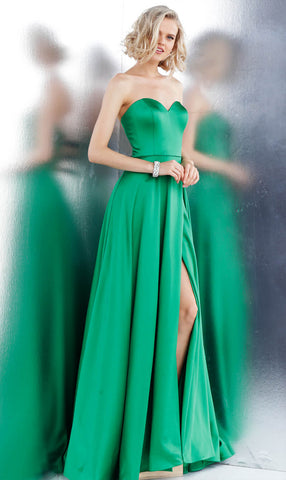 JVN by Jovani 67753 sweetheart neckline high slit satin prom dress