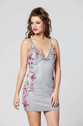 Primavera Couture 3302 short beaded homecoming dress