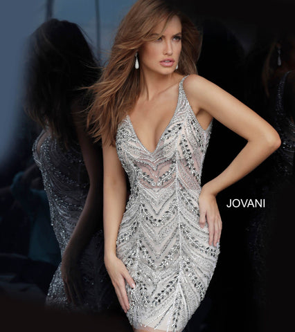 Jovani 01325 v neckline beaded fitted short cocktail dress