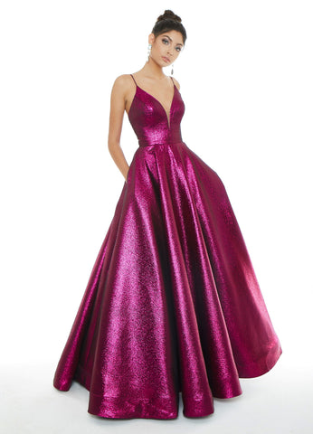 Ashley Lauren 1700 Size 12 Long Metallic Ballgown Prom Dress Pageant V Neck