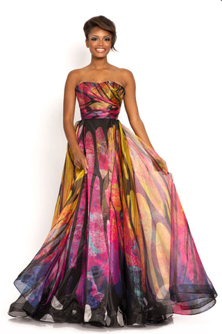 Johnathan Kayne 2000 Pink Butterfly Prom Dress Features Butterfly Wing made into your favorite style evening gown.  Strapless design ruching bodice and flowy A line organza skirt printed to look like a butterfly.  Color Pink Butterfly  Sizes  00, 0, 2, 4, 6, 8, 10, 12, 14, 16