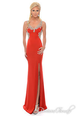 Precious Formals Lux Gal style L61016 Red size 16 stretch satin gown with intricately detailed beading