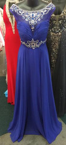 Precious Formals Lux Gal style L 70118 in size 0 Royal blue is a chiffon prom gown with illusion hand beaded top and intricately hand beaded belt and an extra layer of flowing chiffon on the over skirt.  Embellished sheer high neckline evening gown pageant dress.
