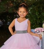 Ashley Lauren 8034 Bring on the drama in the two-tone girls and preteen's pageant dress ball gown embellished with a crystal belt giving way to a fully pleated tulle tiered skirt.  Colors Ivory/Blush, Royal/Turquoise  Sizes  4, 6, 8, 10, 12, 14, 16  Pleated Tulle A-Line Beaded Belt Two-Tone