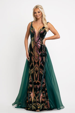 Johnathan Kayne 2238 This is a plunging neckline long column dress with sequin design and features a sheer organza overskirt with sweeping train.  The pack is low and has open horizontal diamond cutouts.  Colors  Emerald Multi, Wine Multi   Sizes  00, 0, 2, 4, 6, 8, 10, 12, 14, 16, 18