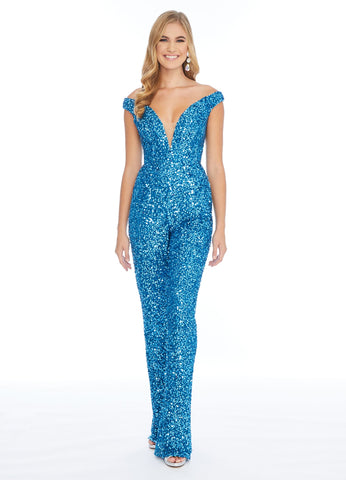 Ashley Lauren 1825 off the shoulder beaded Sequin Prom jumpsuit Long Plunging