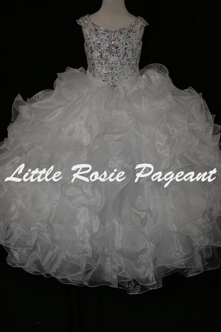 Little Rosie 2175 Size 10 White Girls Glitz Pageant Dress Corset Ruffle Ballgown Skirt