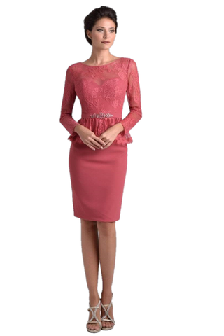 Nina Canacci M221 is a stunning short pencil skirt knee length cocktail dress. featuring a sheer lace illusion high boat neckline with 3/4 long lace sleeves. three-quarter sleeves, paired with a keyhole back accented with a peplum beaded waist. Eyelash lace hem ruffle around the waist to flatter any figure! Available Sizes: 6, 8, 10  Available Colors: Dark Rose