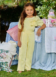 Ashley Lauren 8064 Kids Crepe Jumpsuit with Puff Sleeves and Bow