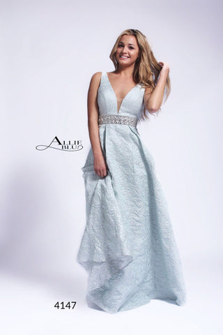 Allie Blu 4147 Mint Prom Dress in Brocade sizes 0-12