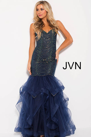 Jovani JVN60604 Size 8 Embellished Mermaid Ruffle Prom Dress Pageant