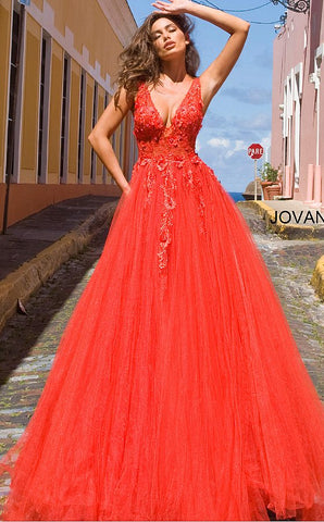 Jovani 55634 Long floral appliques Prom Dress 2020 Lace ballgown V Neck Illusion