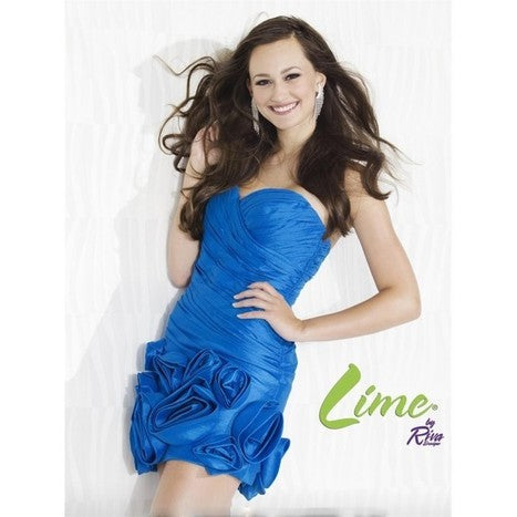 Lime by Riva L 842 Size 2 Ocean Short Fitted Taffeta Cocktail Dress strapless sweetheart