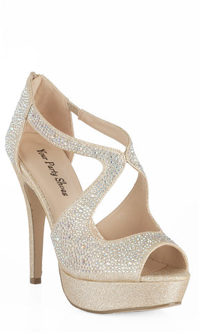 Your Party Shoes London Crystal Embellished High Heel Prom Pageant Nude Silver