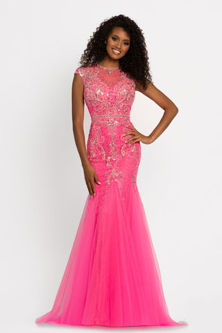 Johnathan Kayne 9039 Illusion Lace Evening Dress Cap Sleeve Mermaid Prom Dress Pageant gown