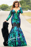 Johnathan Kayne for Sydneys Closet JK2010 Cobra off the shoulder long sleeves plunging neckline mermaid plus size prom dress with corset lace up back embellished with stones