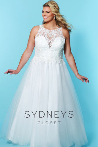 Sydney's Closet SC 5228 Camilla Watch his eyes when he sees you come down the aisle in this long wedding dress with dreamy tulle train. Exquisite lace overlay on V-neckline adds allure and romance. Featuring a soft tulle A-line skirt and lace bodice that flatters any figure type. Available in Ivory. Designer Sydney's Closet SC5228 for curvy brides plus sizes 14-36.