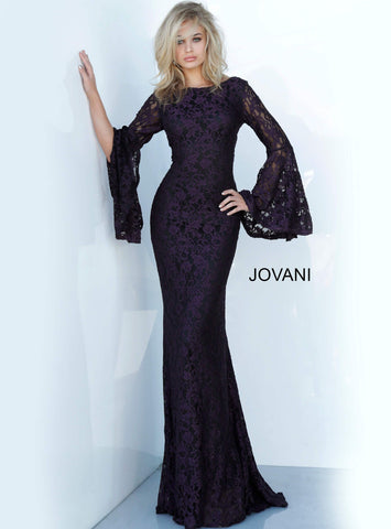 Jovani 03352 long bell sleeves fitted lace evening gown