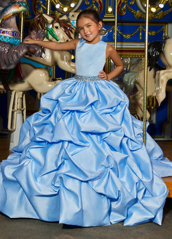 Ashley Lauren 8036 The perfect princess dress is here! This girls and preteens crew neckline pageant gown features a crystal belt at the waist and a full pick-up ball gown skirt.  Colors Ivory, Sky  Sizes  2, 4, 6, 8, 10, 12, 14   A-Line Crystal Beaded Belt Crew Neckline Pickup Skirt