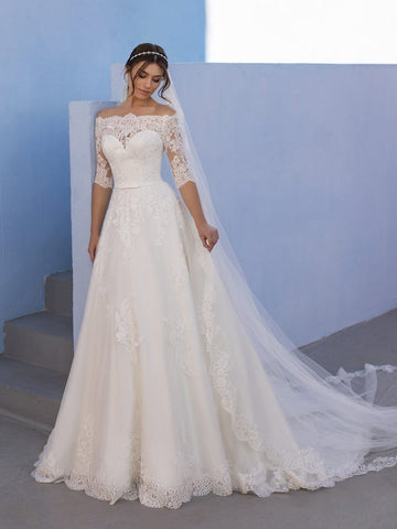 White One OSSA Size 28 Sheer Lace off the Shoulder Wedding Dress Sleeves Ballgown