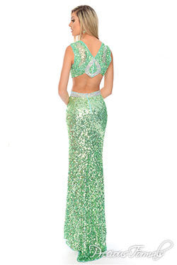 Precious Formals style P9215 Light Lime size 4 sequin gown Prom Dress