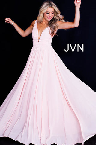 JVN52179  backless and sleeveless plunging v neckline with straps flowy mesh prom dress, pageant gown, evening dress