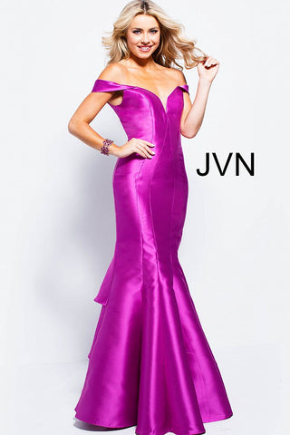 Jovani JVN 59261 Size 6 off the shoulder mermaid prom dress violet Pageant Gown
