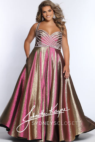 Johnathan Kayne for Sydney's Closet JK2008 Stratus embellished top sweetheart neckline with wide straps iridescent shimmer A line prom dress evening gown pageant dress  Available colors:  Arctic, Prism  Available sizes:  14, 16, 18, 20, 22, 24