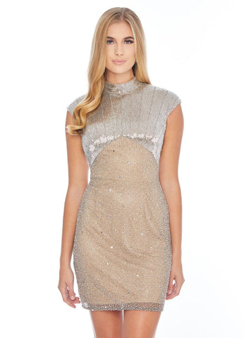 Ashley Lauren 4331 cap sleeve high neck liquid beading cocktail dress