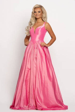 Johnathan Kayne 2225 Major Cinderella Vibes in this shimmery taffeta long A line prom dress.  This pageant gown features a plunging sweetheart neckline with mesh panel and v back.   Colors:  Bubblegum, Mandarin  Sizes  00, 0, 2, 4, 6, 8, 10, 12, 14, 16