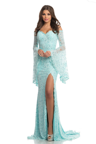 Johnathan Kayne 8249 Size 4 Long Lace Bell Sleeve Formal Dress Slit Pageant Gown
