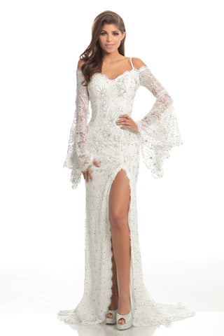 Johnathan Kayne 8249 Long Lace Bell Sleeve Formal Dress Slit Pageant Gown