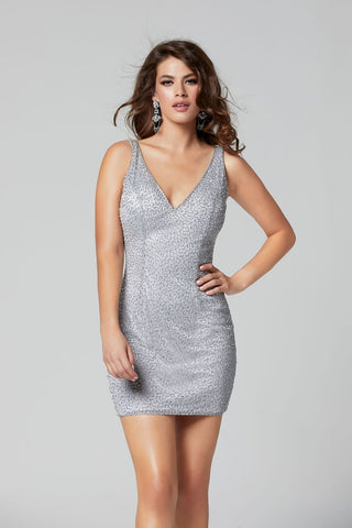 Primavera Couture 3318 v neckline short fitted homecoming dress