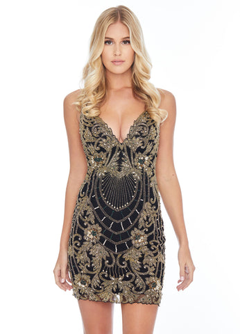 Ashley Lauren 4295 intricately beaded short cocktail dress