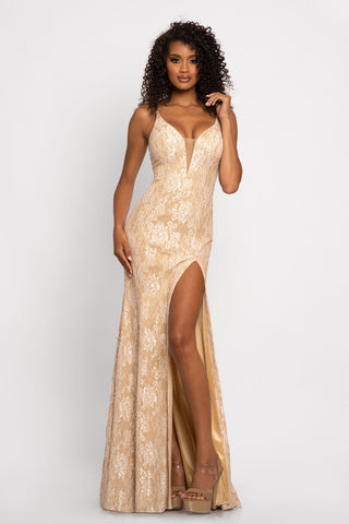 Johnathan Kayne 2245 This is a long metallic stretch glitter lace evening gown with a plunging v neckline and high v back.  The long lace prom and pageant gown features a high side slit.  Colors  Blush/Gold, Ivory/Gold, Jade/Gold, Navy/Gold  Sizes  00, 0, 2, 4, 6, 8, 10, 12, 14, 16, 18, 20