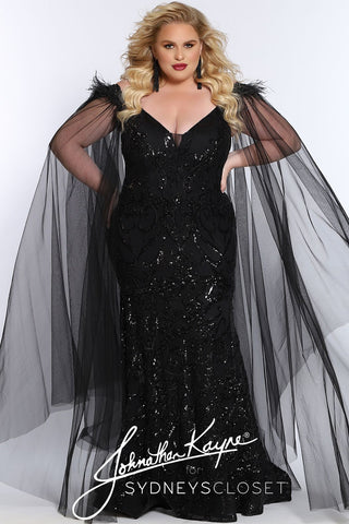Johnathan Kayne for Sydney's Closet JK 2102 Porsche This plus sized long sequin evening gown has a plunging v neckline with sheer mesh panel and a fitted design.  This prom dress features detachable capes off of the shoulders with feather details.    JK2102