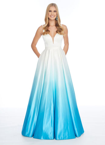 Ashley Lauren 1810 Heavy satin turquoise ombre prom dress