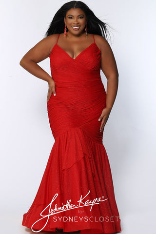 Johnathan Kayne for Sydney's Closet JK 2106 Bentley This is a pleated plus sized mermaid prom dress with sparkle tulle fabric and spaghetti straps.  JK2106
